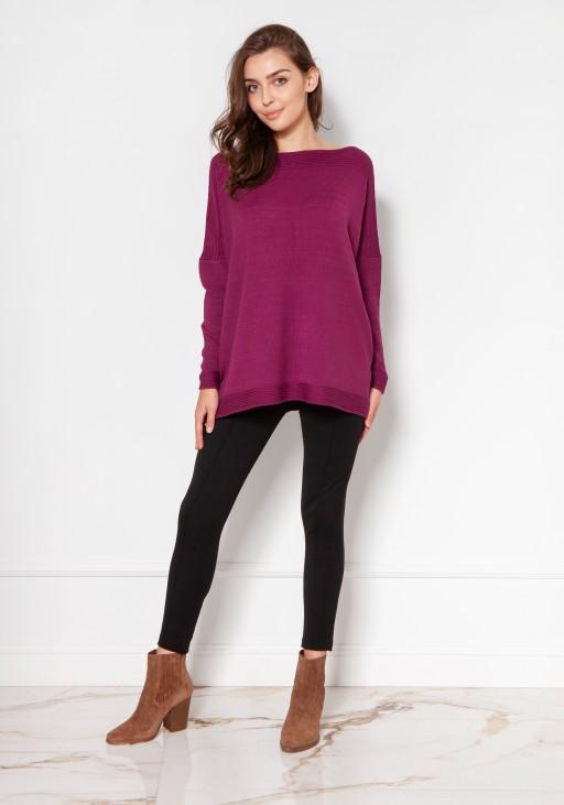 Oversize'owy sweter z wiskozy SWE133 bordo - Lanti   JestemSlow.pl