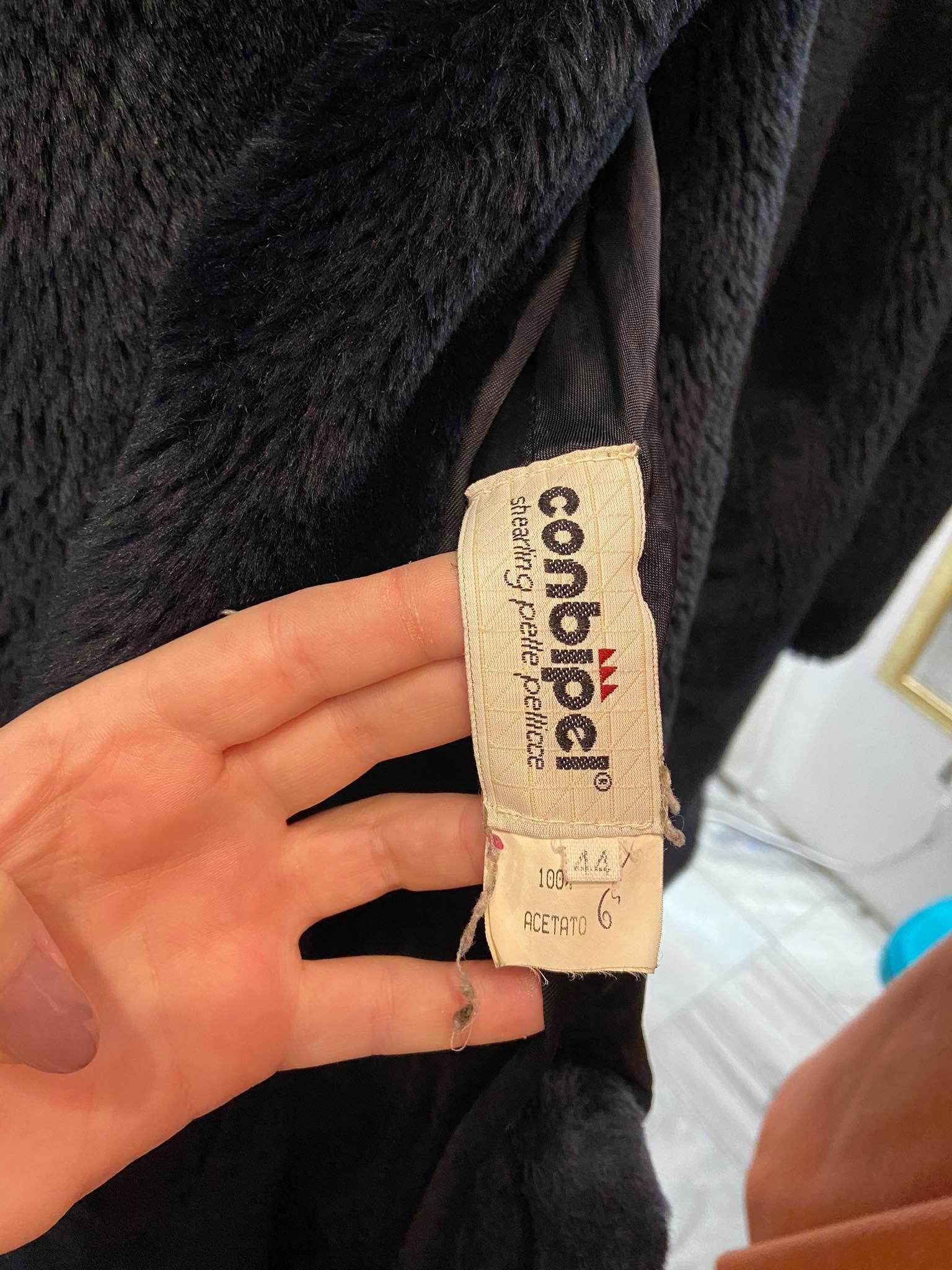 Sztuczne długie futro w kolorze granatowym włoskiej marki CONBIPEL - KEX Vintage Store | JestemSlow.pl