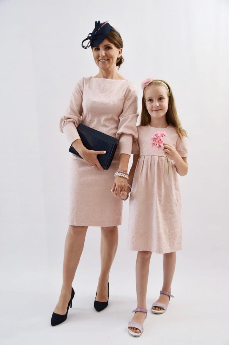 Sukienki dla mamy i córki Królewska Perła Pudrowy Róż - Lovemade   JestemSlow.pl