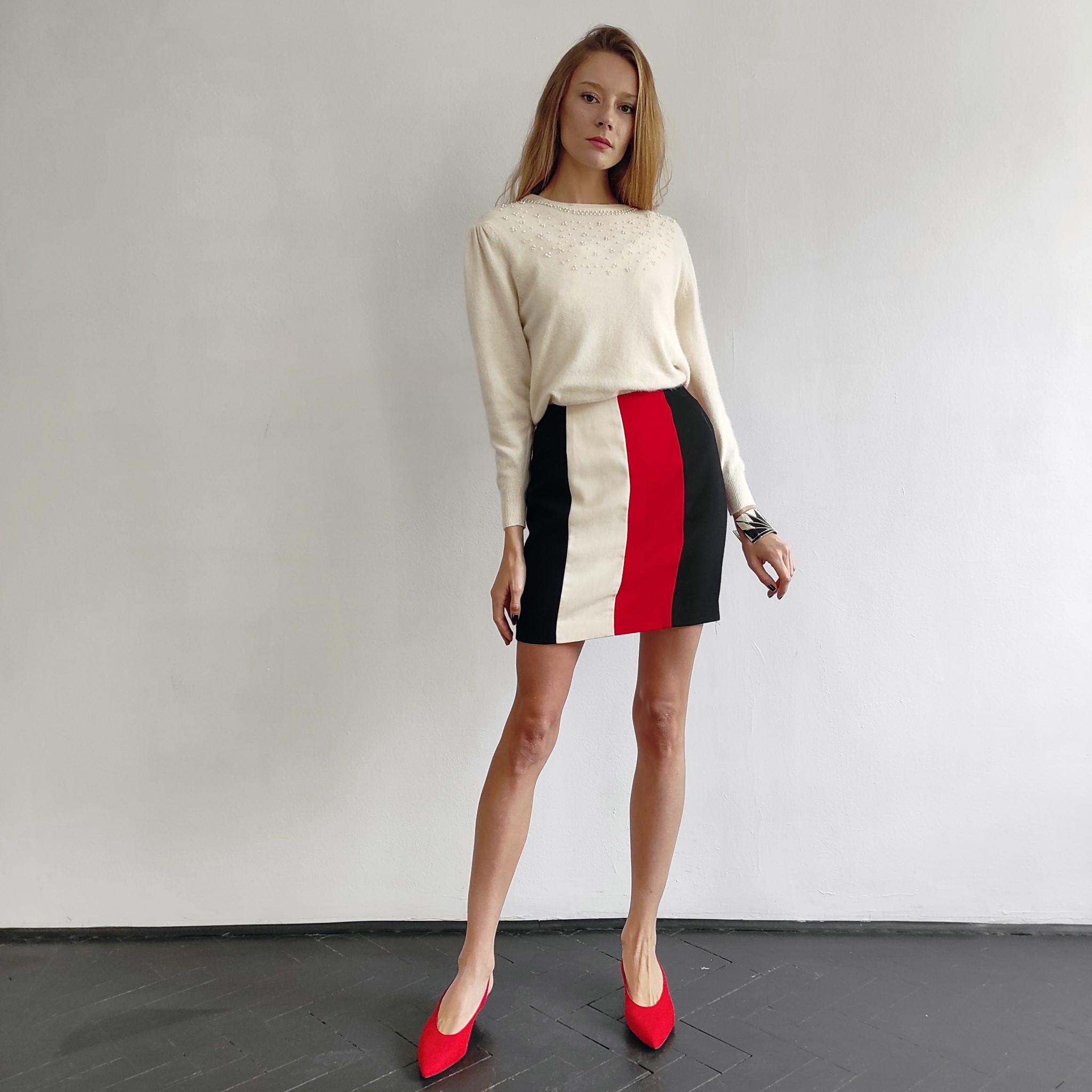 Spódnica z wełny Ellen Tracy black red white - KEX Vintage Store | JestemSlow.pl