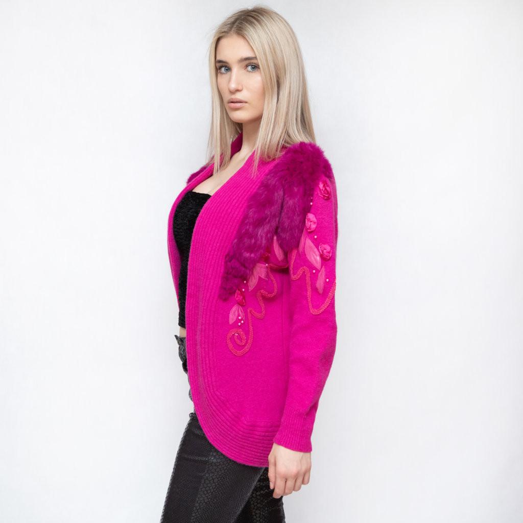 Różowy kardigan z aplikacjami z futra i jedwabiu - KEX Vintage Store   JestemSlow.pl