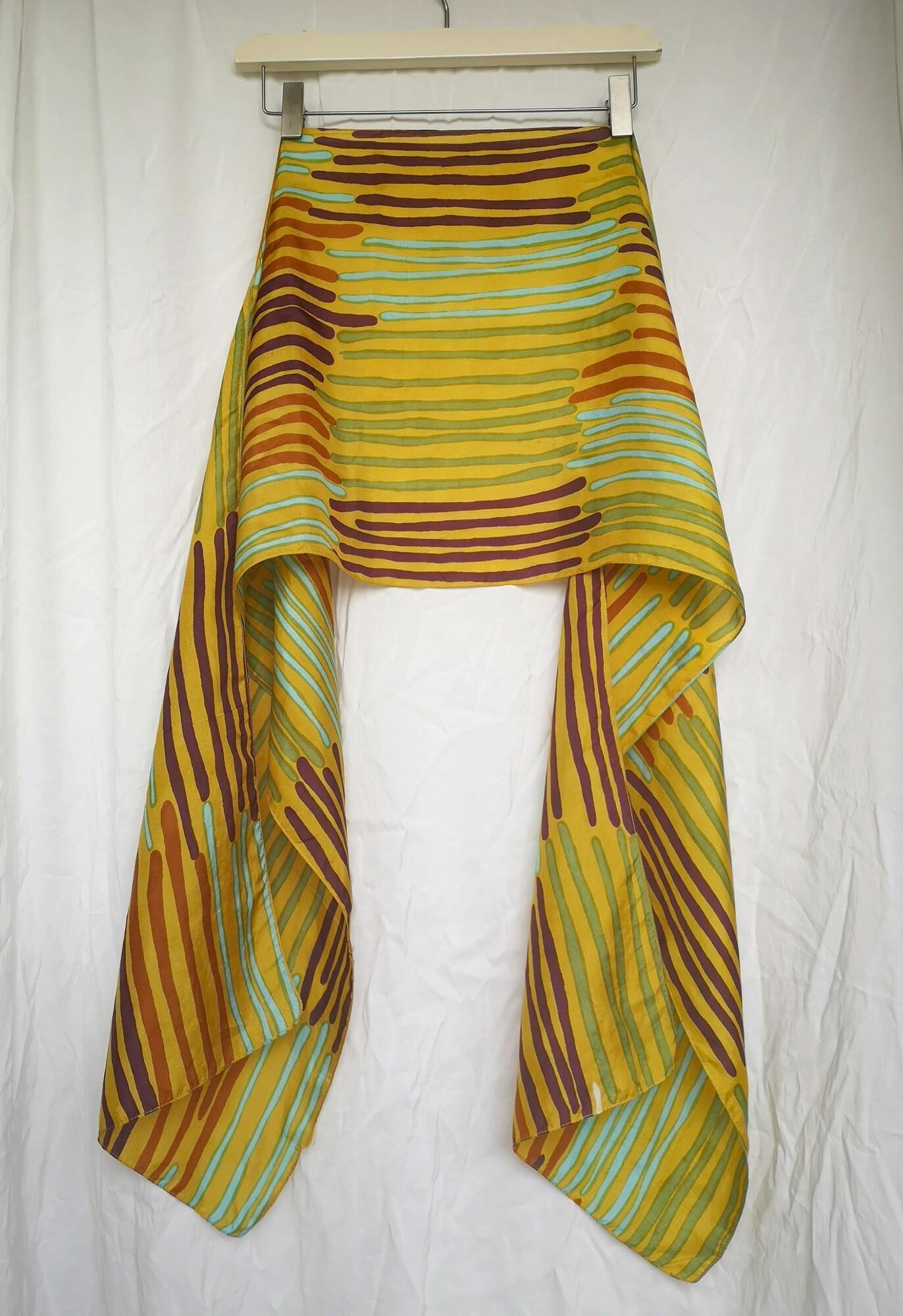 Długi, kolorowy szalik z jedwabiu - KEX Vintage Store | JestemSlow.pl