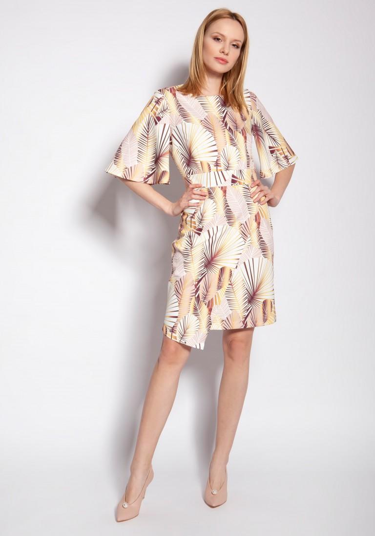 Sukienka dopasowana, SUK188 abstrakcyjne liście - Lanti