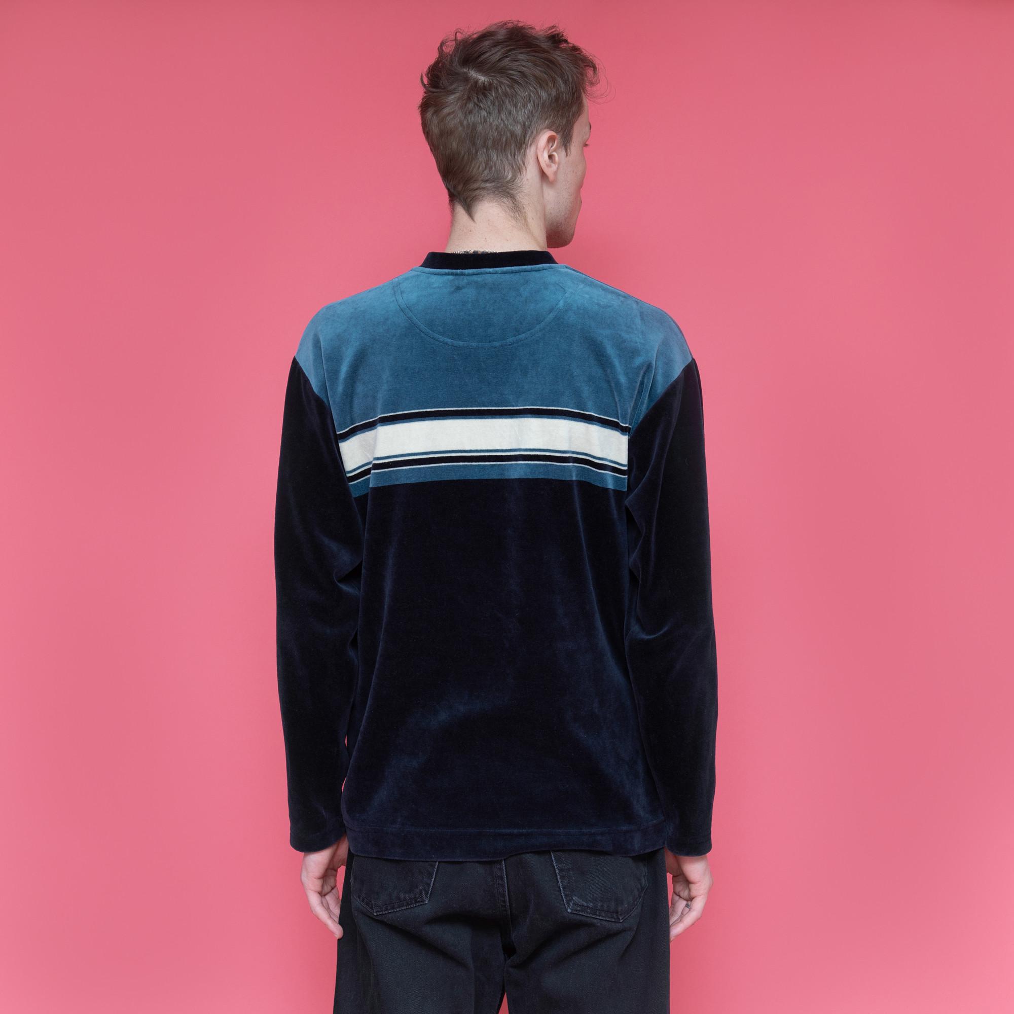 Bluza z weluru w odcieniach granatu, turkusu i bieli - KEX Vintage Store   JestemSlow.pl