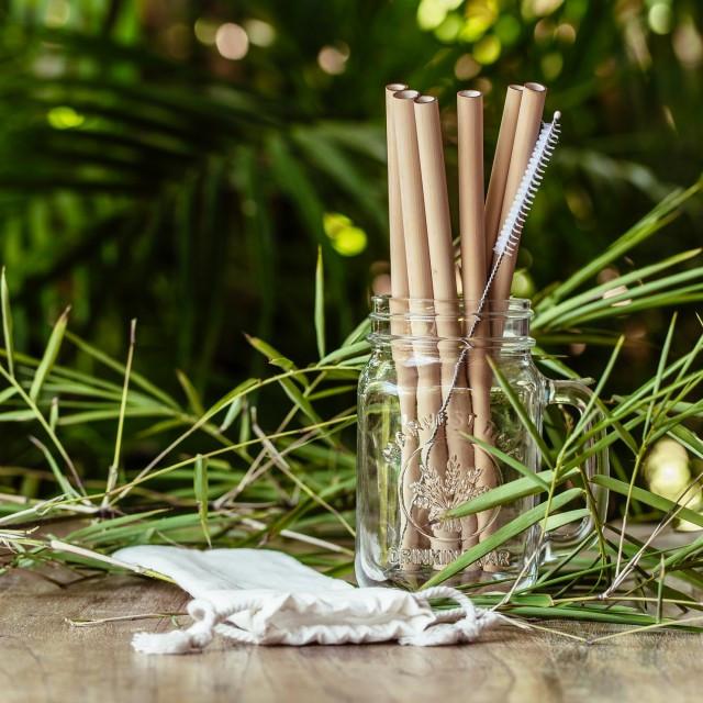 Bambusowe słomki do napojów - 6 sztuk - COCOBAMBOO