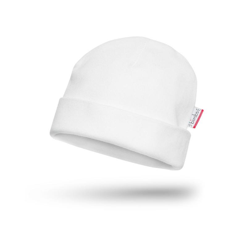 Bawełniana czapeczka niemowlęca - Czysta Biel - BIMBS