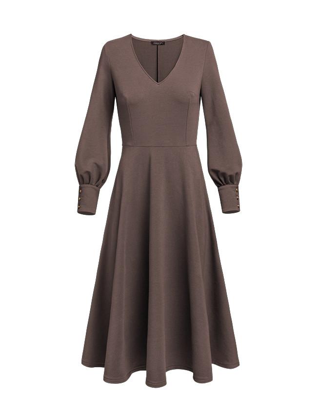 Dresowa sukienka kawowa LUKRECJA latte brązowa - Cocoon