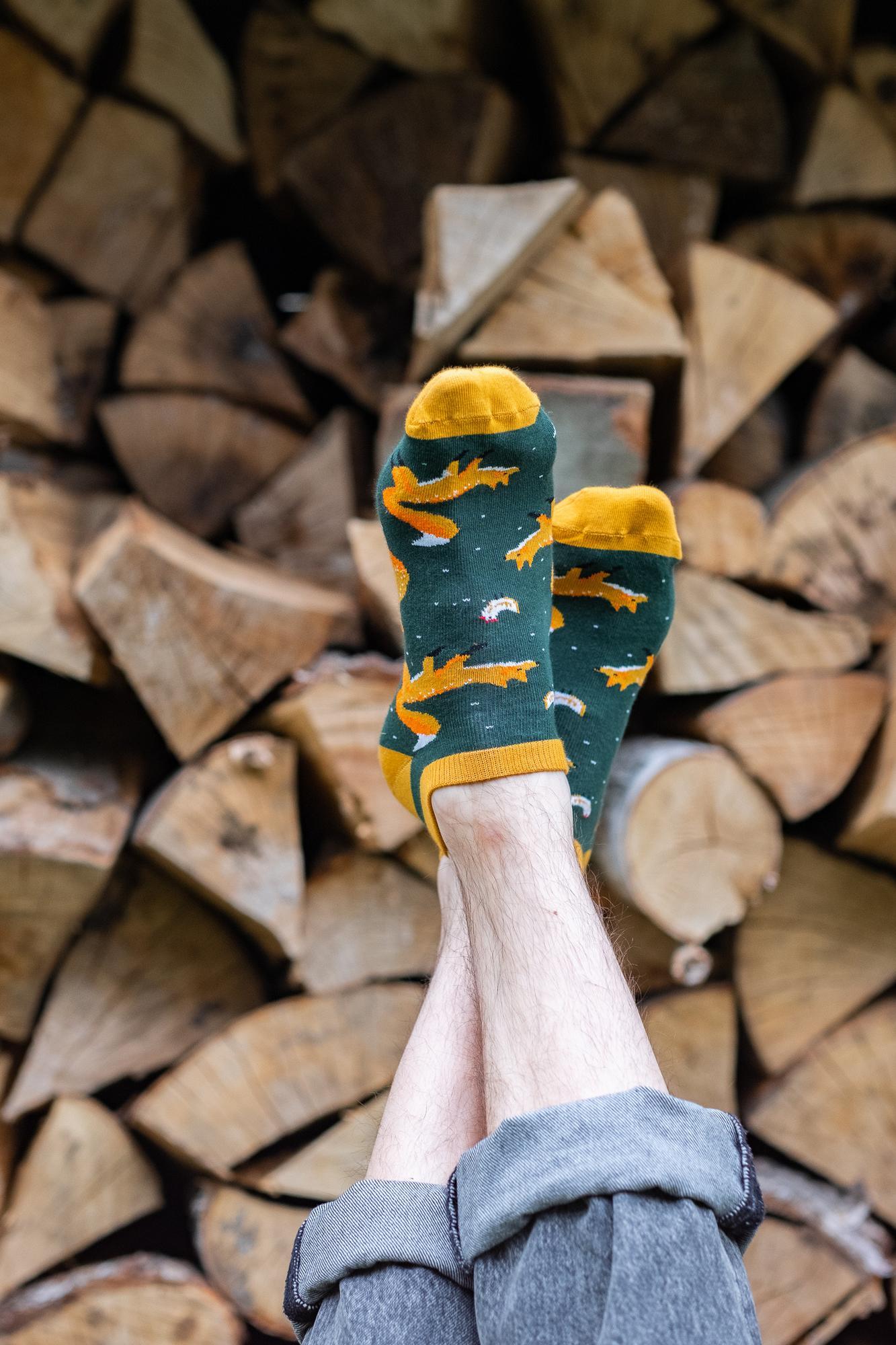 Skarpetki stopki Niesamowity Pan Lis zielony - KABAK