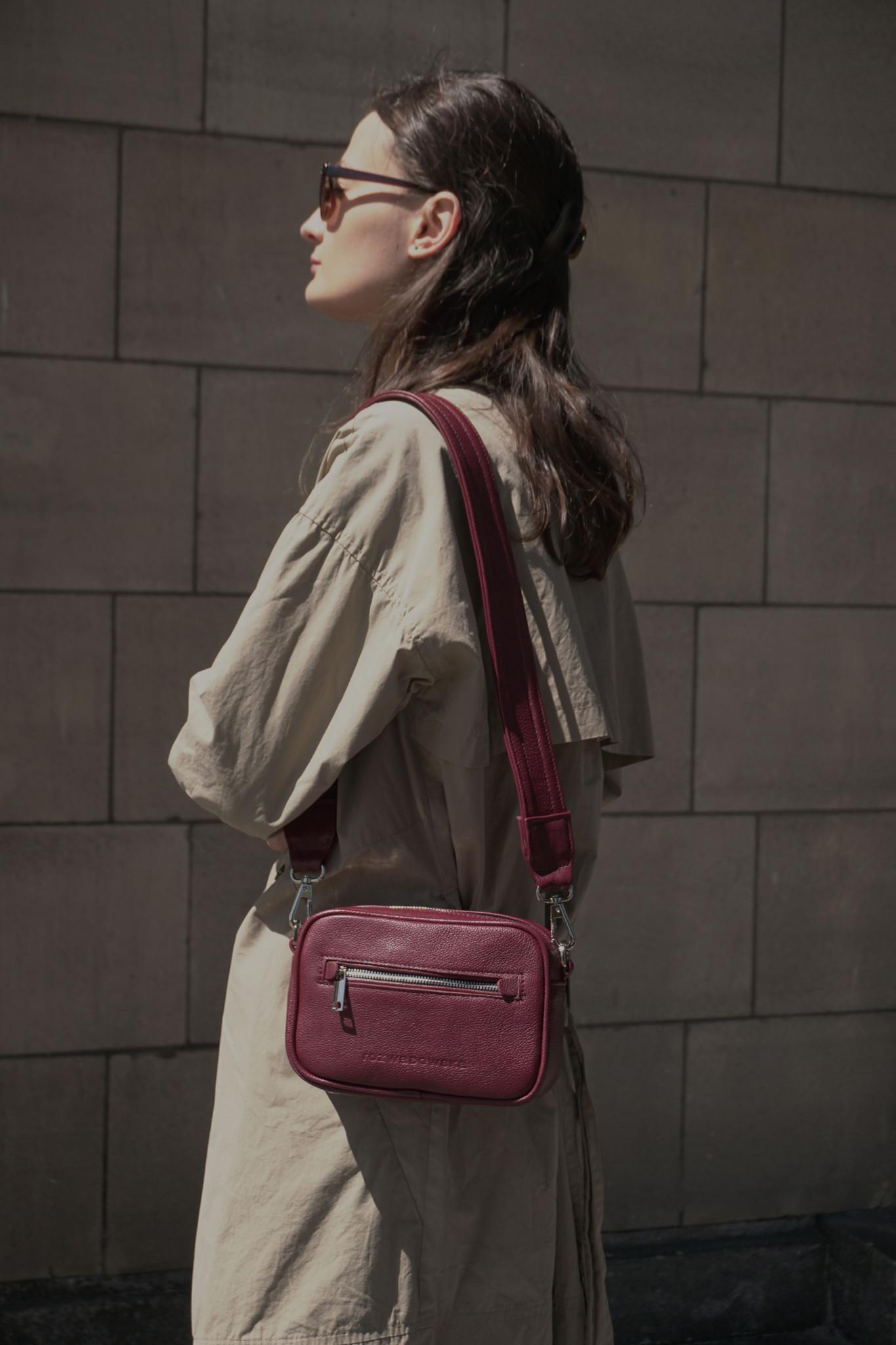 BOXY MINI BORDO - torebka w kształcie pudełka - torebka na pasek - torebka na suwak - torebka bordo - Rozwadowska Bags