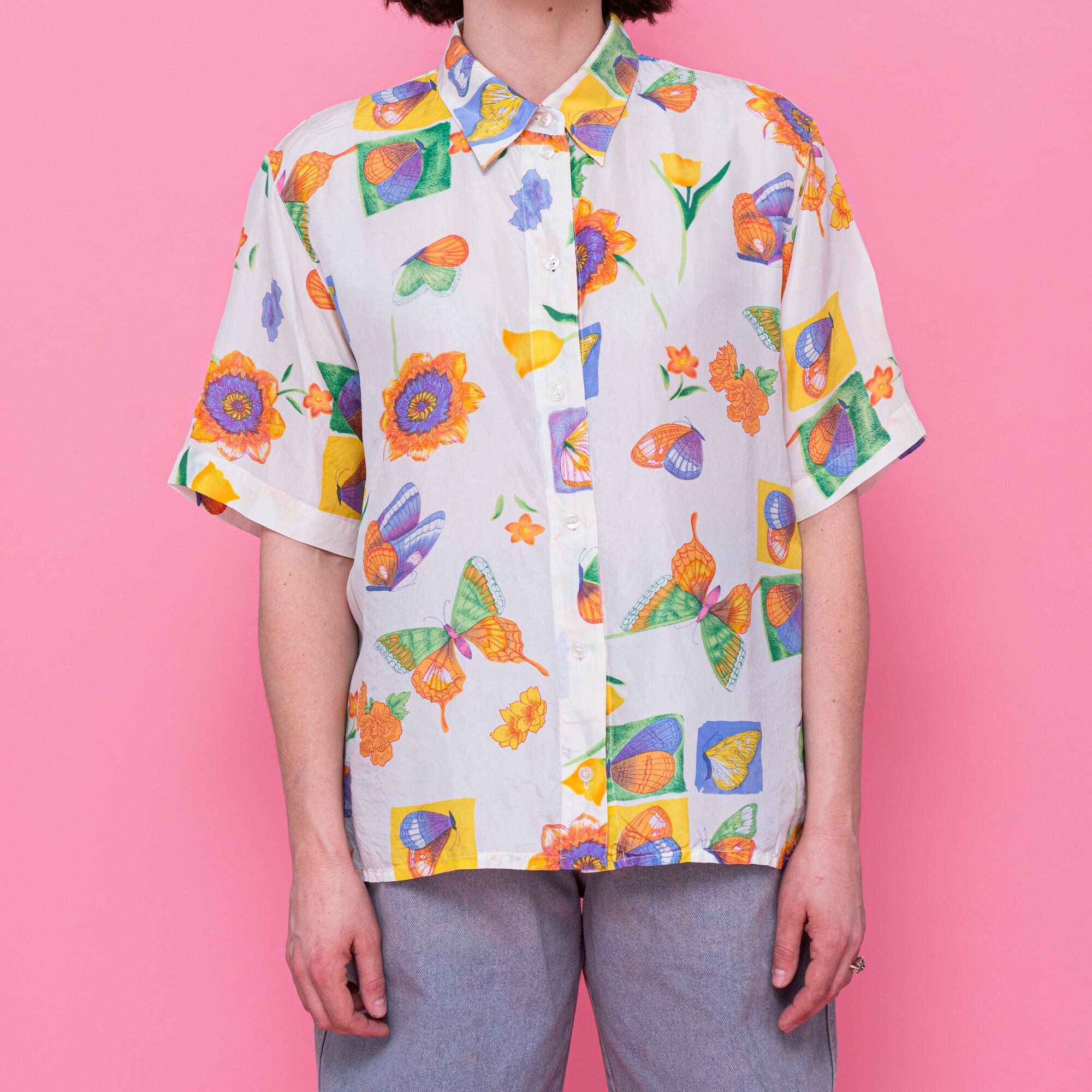 Koszula z jedwabiu w motyle - KEX Vintage Store | JestemSlow.pl