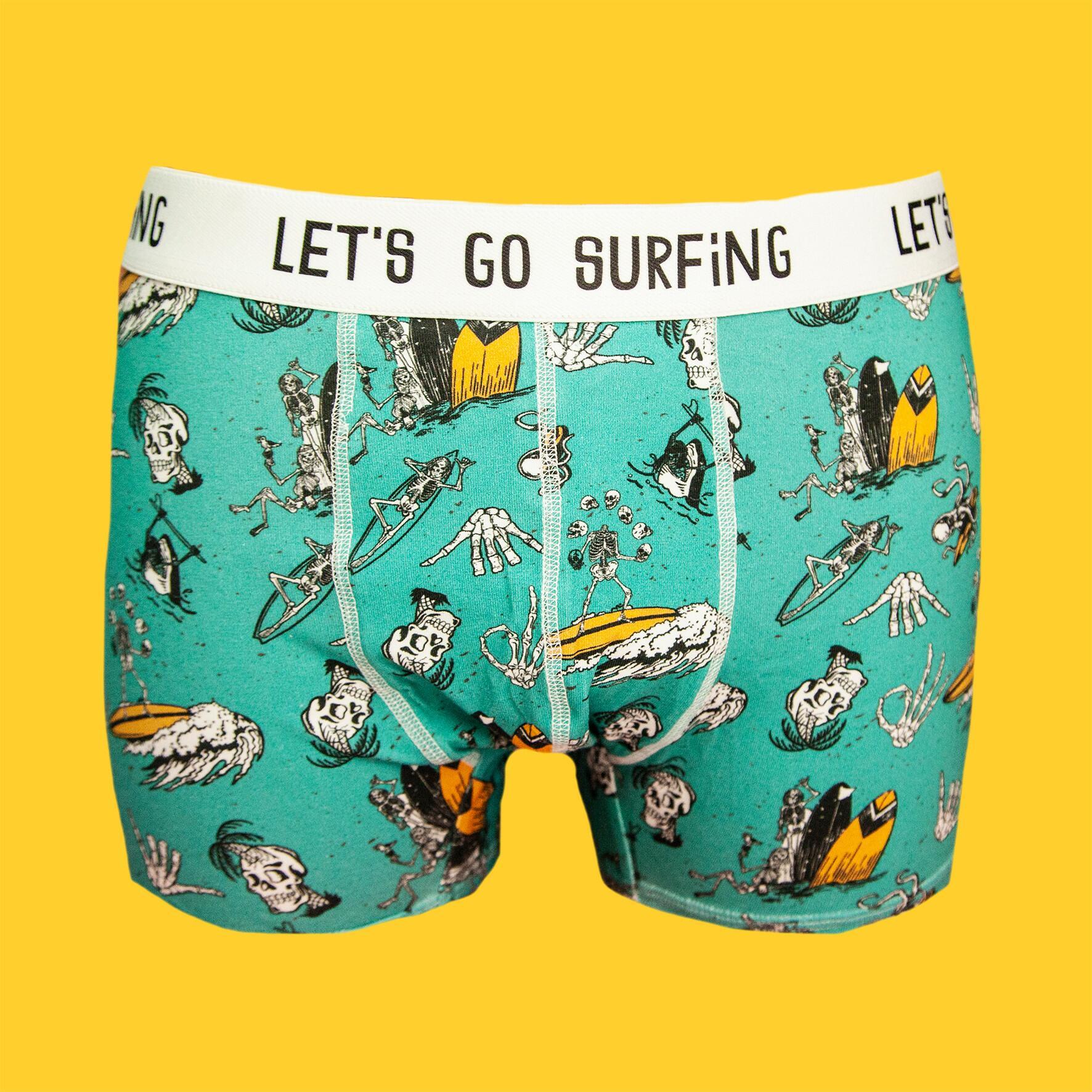 Let's go surfing - Bokserki bawełniane męskie - czachy - Majtki z Sosnowca by After Panty | JestemSlow.pl