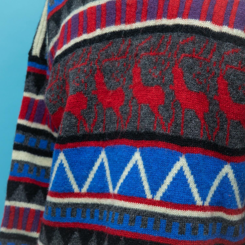 Ciepły sweter z wełny w zimowe wzory - KEX Vintage Store | JestemSlow.pl