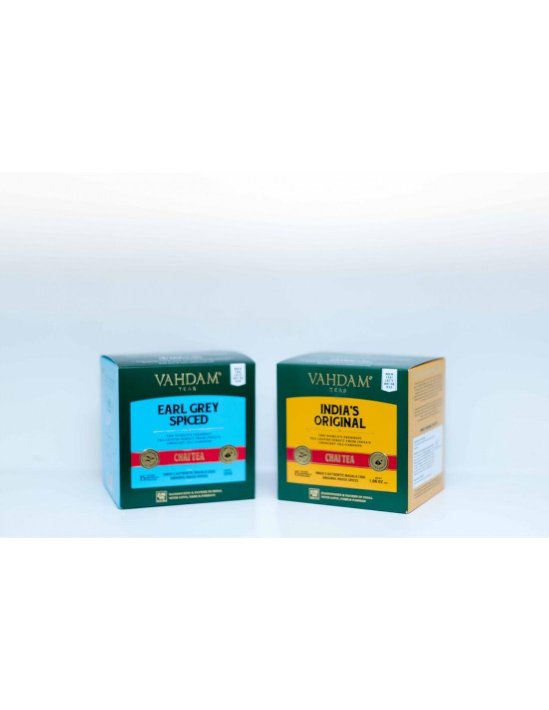 Kultowa, tradycyjna indyjska mieszanka Assam CTC z mnóstwem aromatycznych przypraw indyjskich, w dwóch odsłonach India's Original Black Tea - herbata czarna 86%, kardamon 4%, cynamon 3%, czarny pieprz 4%, goździki 3% Earl Grey Spiced Chai Tea - herbata czarna Assam 85%, naturalny ekstrakt z bergamotki 2%, kardamon 4%, cynamon 2,5%, czarny pieprz 3%, goździki 3,5% Temperatura wody: 90-100 C Czas parzenia: 3-5 minut Zawartość kofeiny: wysoka  India's Original Chai Tea to tradycyjna indyjska herbata, która zyskała ogromną popularność na całym świecie. Odkryj mocny aromat tak charakterystyczny dla herbat Assam CTC, dodatkowo wymieszanych ze świeżymi, aromatycznymi przyprawami indyjskimi, takimi jak kardamon, cynamon, czarny pieprz i goździki. Bardzo aromatyczna herbata, która łączy słodowe smaki herbaty Assam z egzotycznym zapachem i smakiem indyjskiego bazaru przyprawowego. Earl Grey Spiced Chai Tea to nowoczesna interpretacja tematu tradycyjnej indyjskiej herbaty Masala Chai - popisowy s