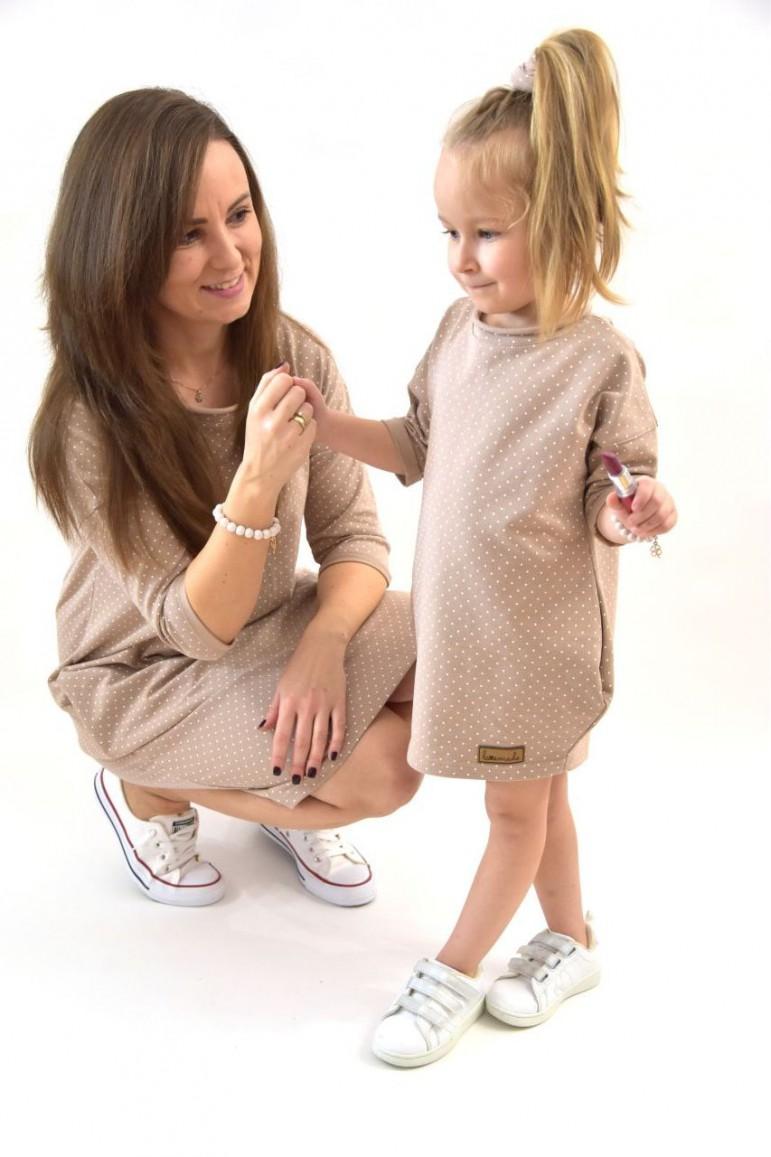 Dresowe Sukienki Typu Tunika Dla Mamy I Corki Bezowe W Kropki Lovemade Jestemslow Pl