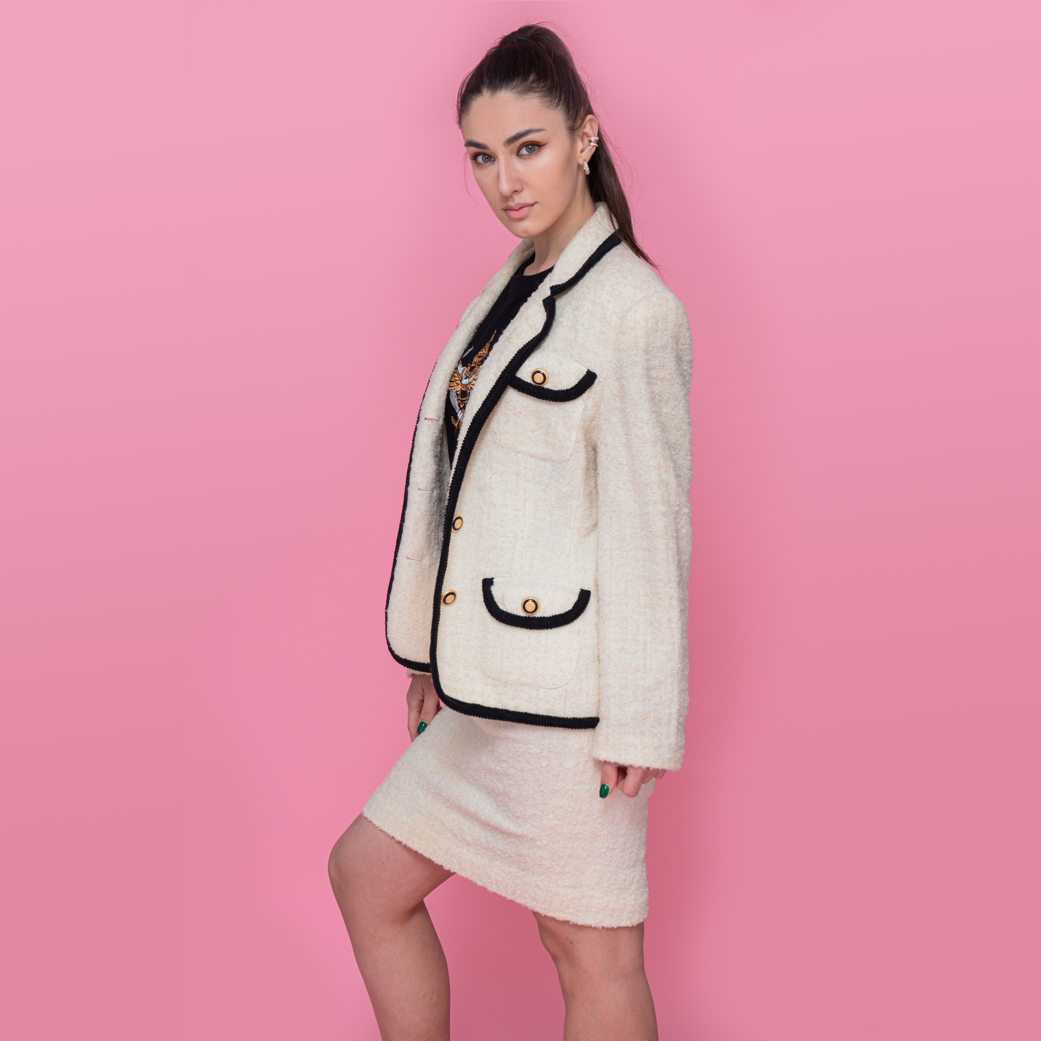 Komplet marynarki ze spódnica z wełny marki JEAN CLAIR w stylu Chanel - KEX Vintage Store | JestemSlow.pl