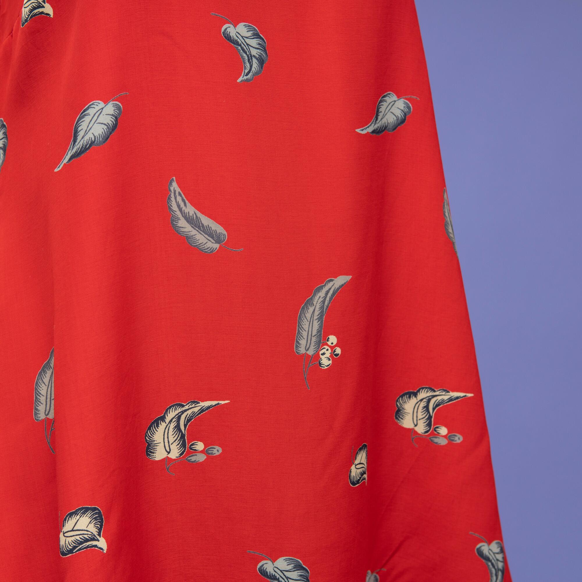 Czerwona sukienka z wiskozy w liście - KEX Vintage Store | JestemSlow.pl