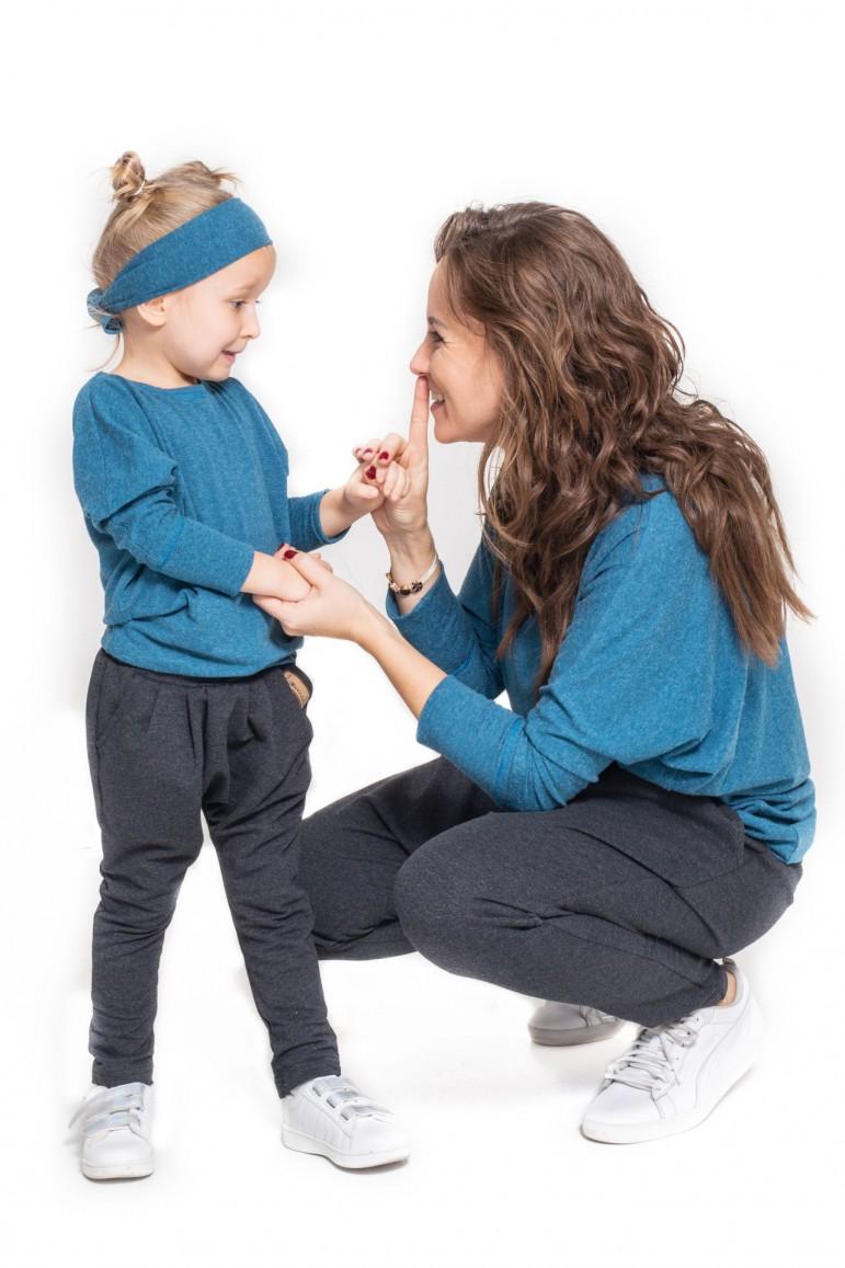 Komplet bluzek dla mamy i córki typu nietoperz - Blue Sky - Lovemade