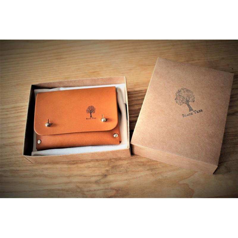 Skórzany portfel na karty, monety i dowód rejestracyjny Czarny Skóra naturalna - HisOutfit
