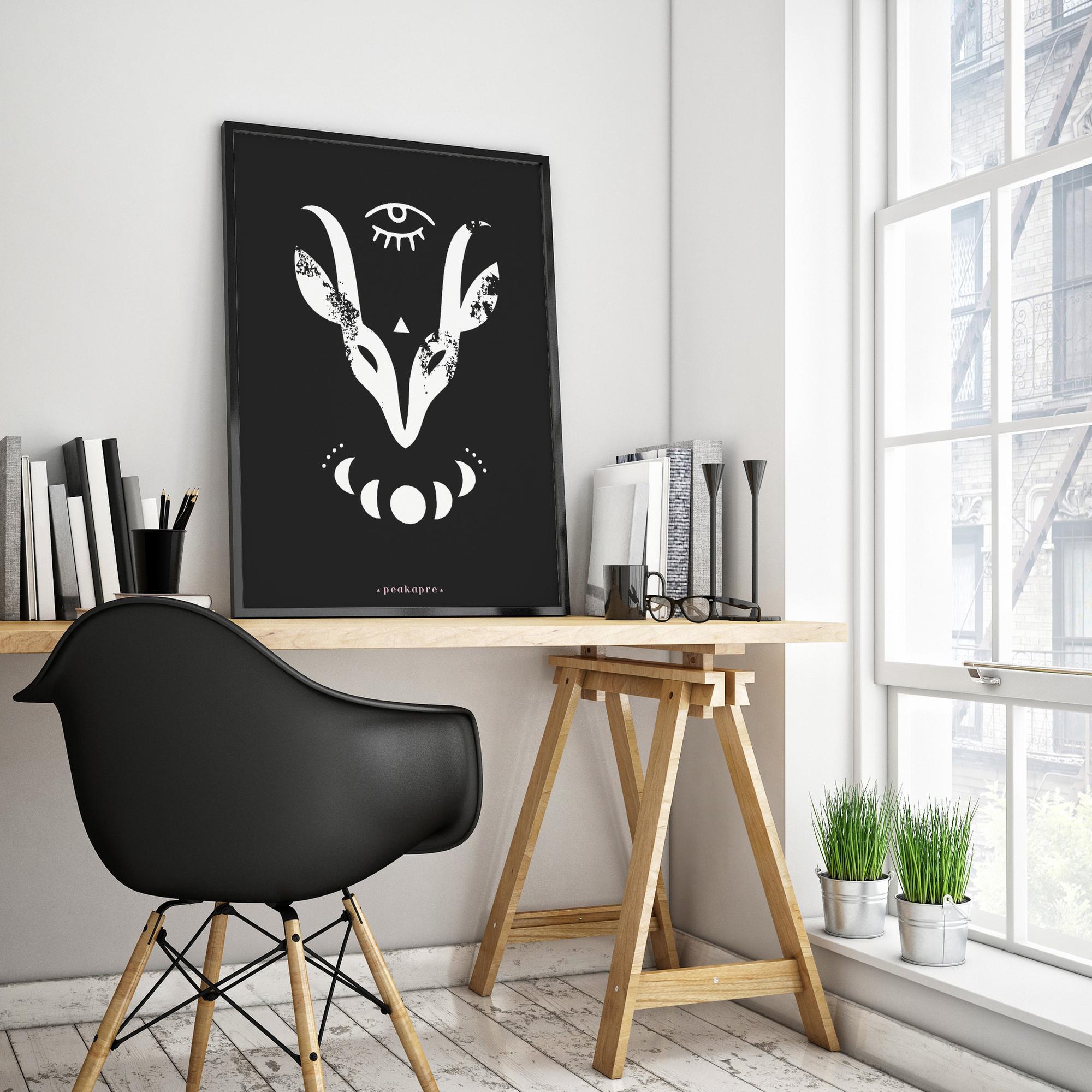 """Plakat artystyczny z grafikąPeakapre """"WHITE KAPRA"""" - kolekcja Merkury - Peakapre"""
