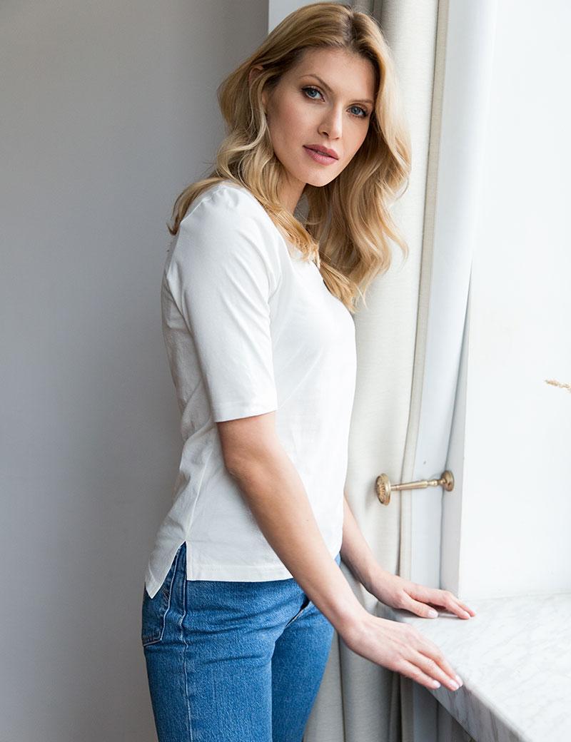 T-shirt z wydłużonym rekawem Anette White Loli-Pop - Slow Store | JestemSlow.pl
