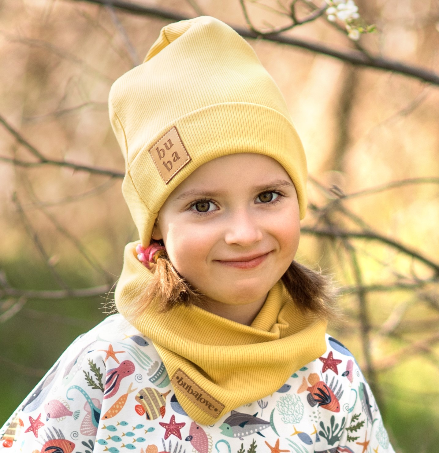 Czapka dziecięca wiosenno jesienna z kominem -musztardowa - Bubalove | JestemSlow.pl