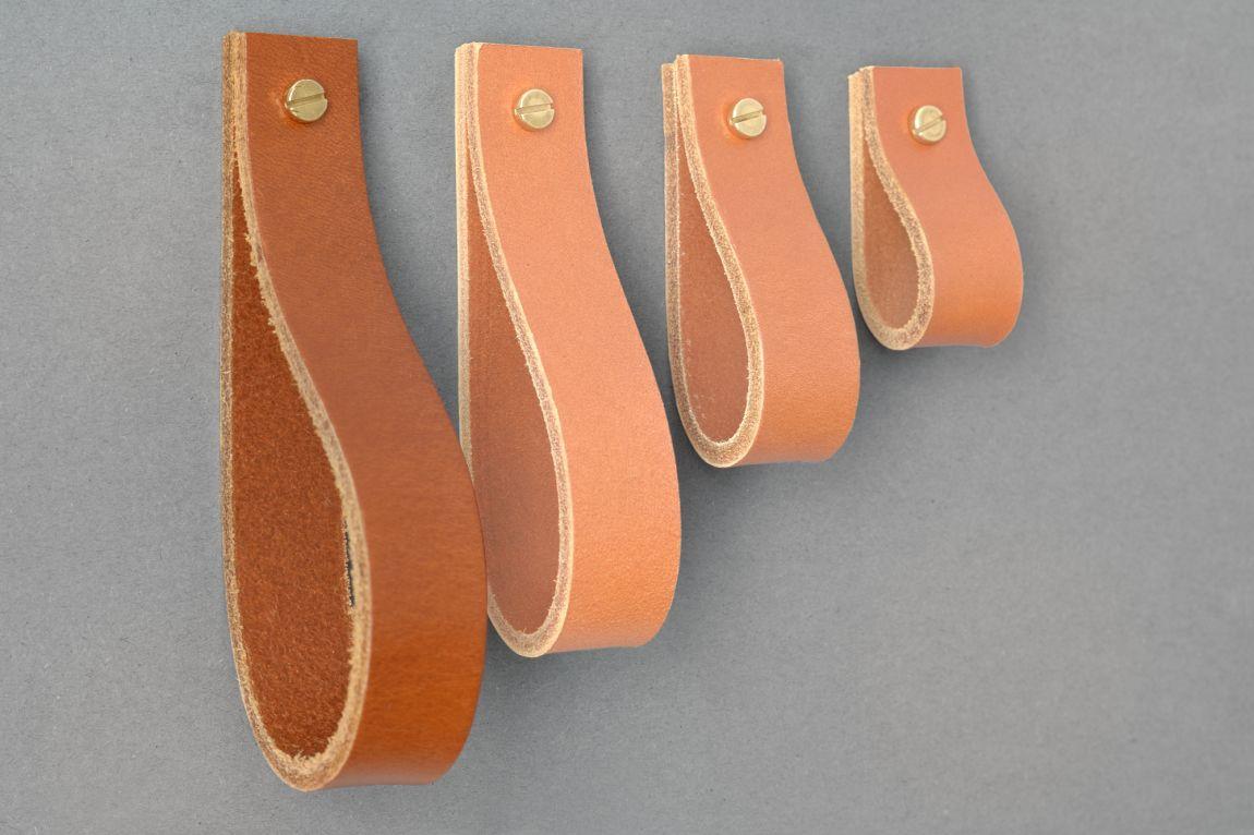 Skórzany uchwyt meblowy Lade #2 jasnobrązowy - Steil
